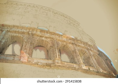 Colosseum (Coliseum) in Rome, Italy. Main tourist attraction of Rome. Travel background illustration. Painting with watercolor and pencil. Brushed artwork. Vector format.