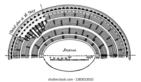 Colosseum, Half Plan,  originally the Flavian Amphitheatre, Italian Anfiteatro Flavio or Colosseo,  an elliptical amphitheatre, the center of the city of Rome, vintage line drawing or engraving