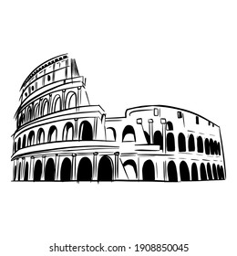colosseum, hand-drawn style black and white graphics, sketch