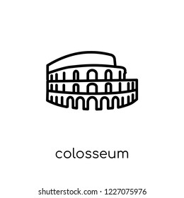 Colosseum icon. Trendy modern flat linear vector Colosseum icon on white background from thin line Architecture and Travel collection, editable outline stroke vector illustration