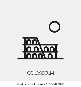 colosseum icon vector. Linear style sign for mobile concept and web design. colosseum symbol illustration. Pixel vector graphics - Vector.