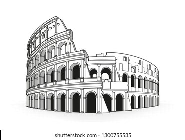 Colosseum in Italy icon in outline style isolated on white background. Countries symbol stock vector illustration