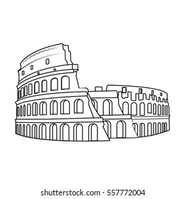 Colosseum in Italy icon in outline style isolated on white background. Countries symbol stock vector illustration.