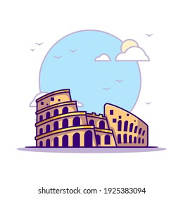 Colosseum Landmarks Vector Icon Illustration in Flat Cartoon style for Web Landing Pages with Banner or Sticker and Background