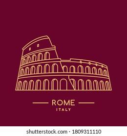 Colosseum line art icon. Outline Coliseum stadium template. Italian landmark. Vector illustration.