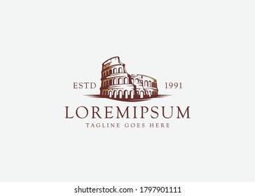 Colosseum rome design inspiration. Vector illustration of Colosseum building landmark