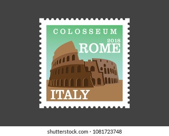 Colosseum Rome ,Italy (Post stamp)