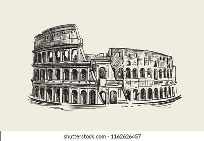 Colosseum in Rome Italy. Vector hand drawn sketch