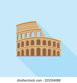 The Colosseum in Rome. A simple icon in flat style with shadow. Colorful vector illustration.