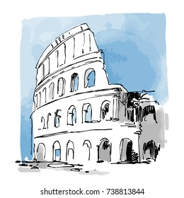 Colosseum vector sketch. Ancient Rome, Italy. Hand drawn urban illustration. Ink, watercolor. Design for greeting card, poster.