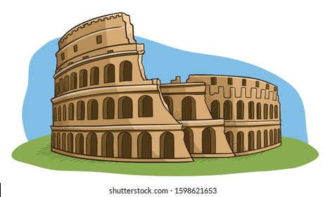 COLOSSEUM - WONDER OF THE WORLD - VECTOR DOODLE