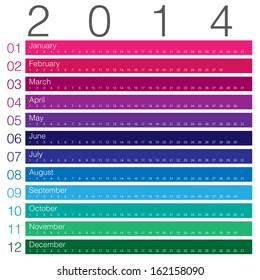 colouful calendar 2014 minimal design
