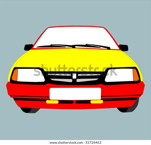 Colour Drawing Representing Car Standing By Stock Vector Royalty
