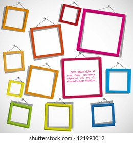 Colour frames on the white background. Eps10 .Image contain transparency and various blending modes
