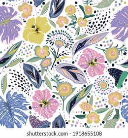Colour and fresh Hand drawn blooming garden floral ,Botanical leaf ,many kind of flowers with stylish polka dots seamless pattern vector,Design for fashion , fabric, textile, wallpaper, cover, web ,