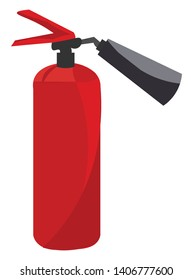 A colour illustration of a red coloured fire extinguisher, vector, color drawing or illustration.