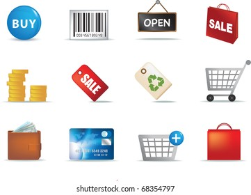colour illustration of a set of modern retail shopping icons