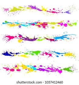 Colour paint blot, splashes, drops for creativity