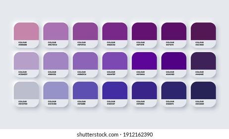 Colour Palette Catalog Samples Purple in RGB HEX. Neomorphism Vector