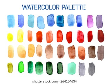 Colour Palette Comprising of Watercolour Swatches in Various Shades. EPS10 Vector Format