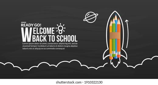 Farbstifte Rakete, die mit Doodles auf der Tafel startet, willkommen zurück auf Schulhintergrund