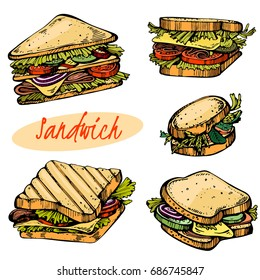 Colour set of hand drawn sandwiches