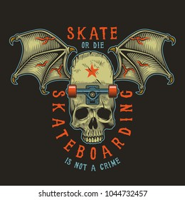 Colour skateboarding print with wings and skull. Vector illustration