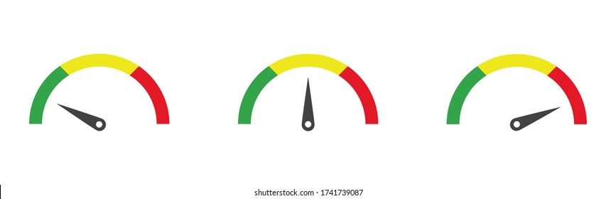 Colour speedometer icon set, vector flat car dashboard collection.