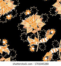 Colour Spring Theme seamless pattern Background. Flat Flower Elements Design. Flowers on orange, black and white colors. Nice flower vector pattern.