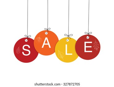 Coloured circle hanging sale marks isolated on white background for autumn campaign.