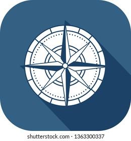 Coloured compass icon in fla design style