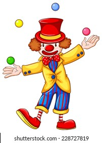 A coloured drawing of a clown juggling on a white background