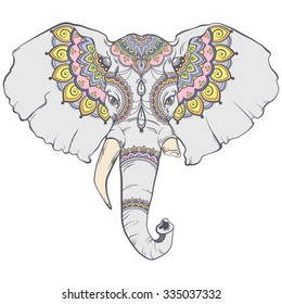 Coloured head of elephant with elegant ethnic pattern. Hand drawing style. Vector illustration.