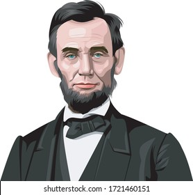 coloured illustration of a portrait of the President of USA Abraham Lincoln on a white background
