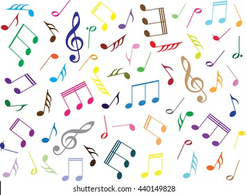 Coloured music notes on white background