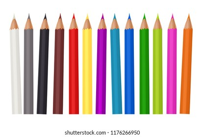 Coloured pencils or crayons loosely arranged isolated on white background. Vector illustration.