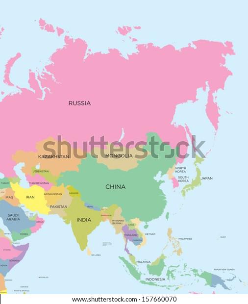Coloured Political Map Asia Vector Stock Vector (Royalty Free) 157660070