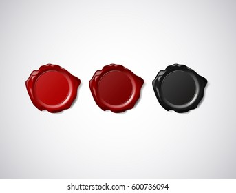 Coloured red, and black wax seal, signet or stamp isolated on white