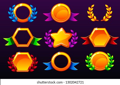 coloured templates for awards, creating icons for mobile games. Isolated on a separate layers. Vector concept gambling assets, set Mobile App Icons different forms and Laurel wreath of victory.