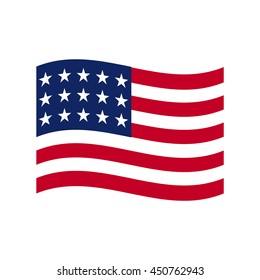 Coloured USA flag. Vector illustration of american flag.