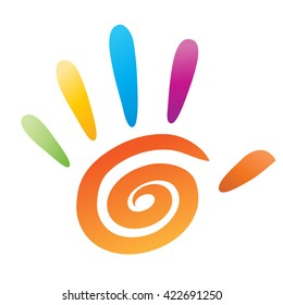 Coloured vector people hand with 5 fingers and spiral element for logo, icon or art design