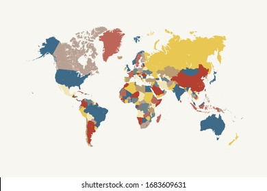 Coloured world map. colourful world countries. vector illustration.