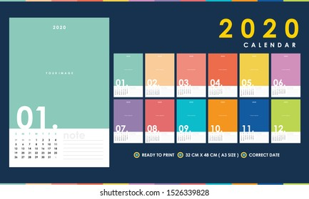 Colourful 2020 Calendar with Correct Dates easy to edit vector A3 size