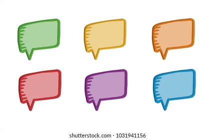 Colourful 3D hand drawn speech bubbles with sample text
