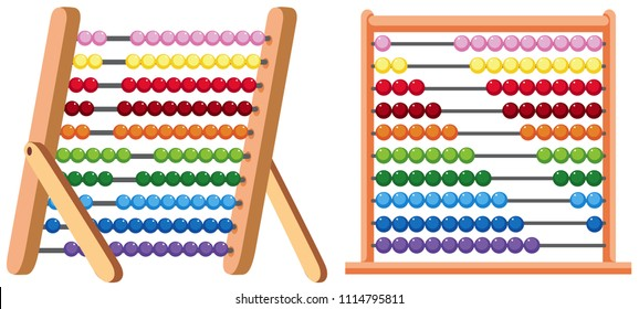 A Colourful Abacus on White Background illustration