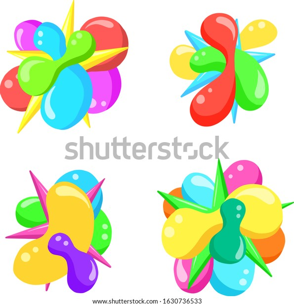Colourful Abstract Hand Drawn Balloon Bubble Loco or Icon  Vector Illustrations To brighten Up a Design