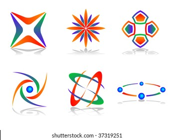 Colourful and Abstract Vector Icon Design Element Set