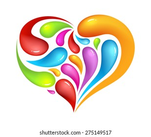 Colourful abstrak icon of heart