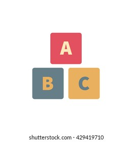 Colourful alphabet cubes with A,B,C letters. Isolated vector eps 10 illustration on white background.
