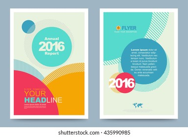 Colourful annual report brochure flyer design template with circles style. vector illustration, Use for Leaflet cover presentation abstract flat background, layout in A4 size